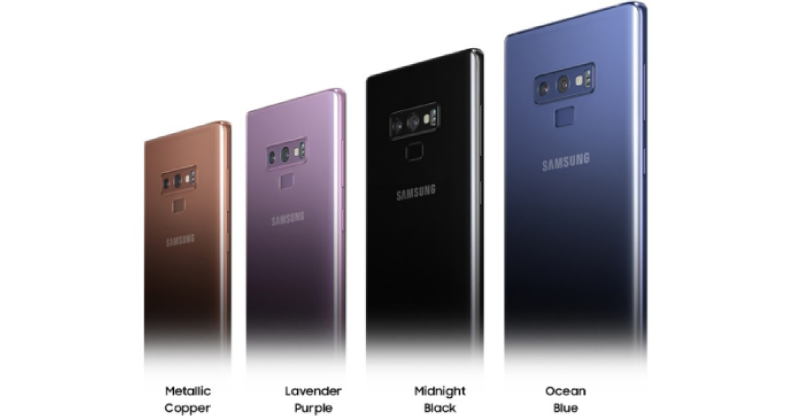 Colores disponibles del Galaxy Note 9