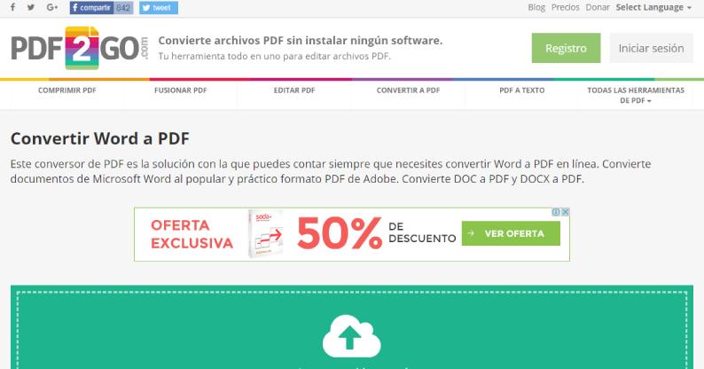 convertidor de word a pdf PDF2Go