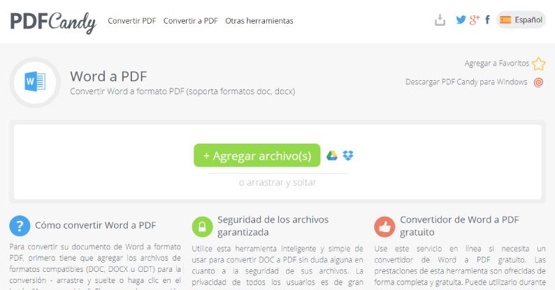 convertidor de word a pdf PDFCandy