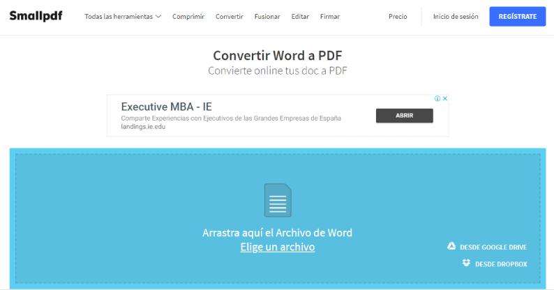 convertidor de word a pdf Smallpdf