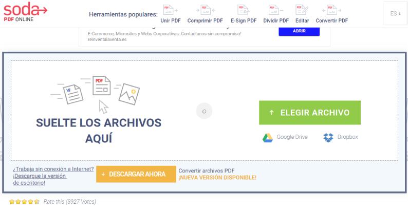convertidor de word a pdf Soda PDF Online