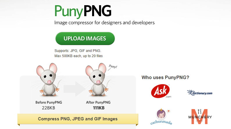 Paginas para comprimir imagenes puny png