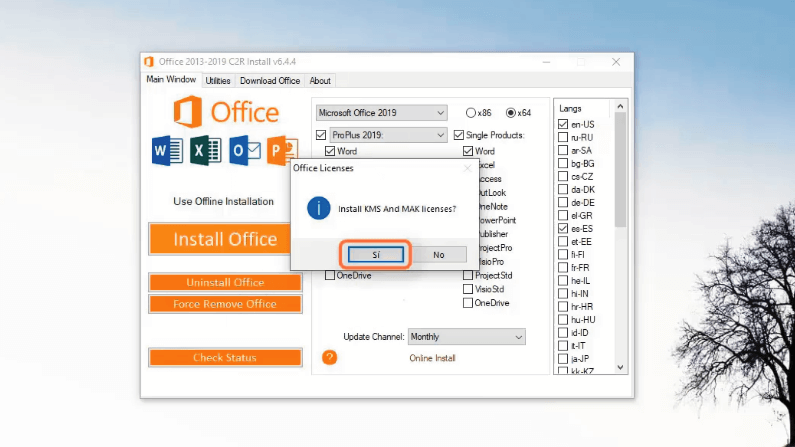 install KMS office 2019