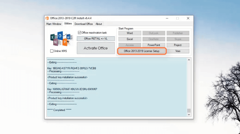 office 2019 license setup