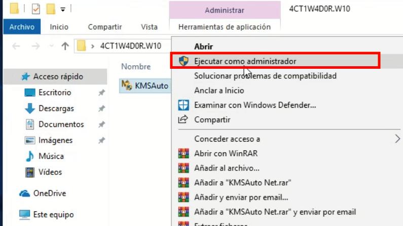 ejecutar como administrador activador windows 10